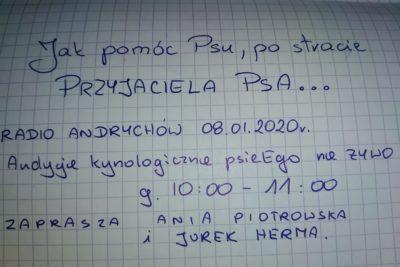 """Audycja kynologiczna w Radio Andrychów: """"Jak pomóc Psu po stracie Przyjaciela Psa""""."""